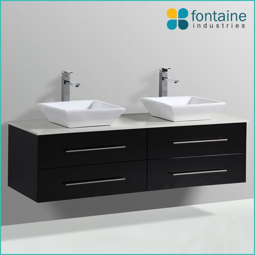 Chadwick 1500 Double Bathroom Vanity Twin Double Ceramic Basins Stone Top   Fontaine Industries  