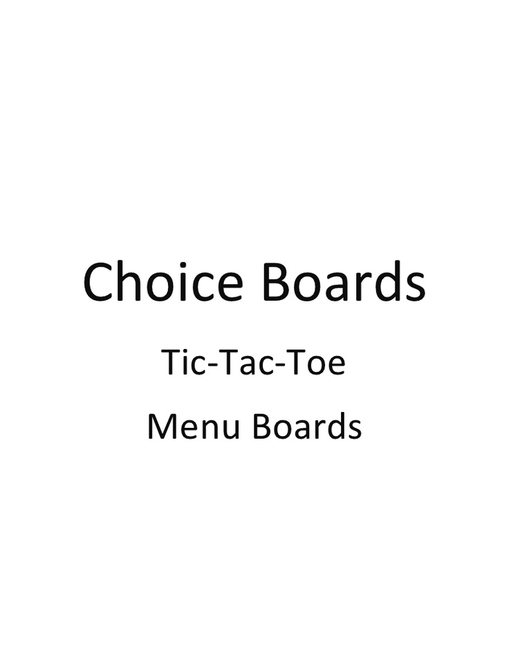 Best Tic Tac Toe Assignment Images On   Choice Boards