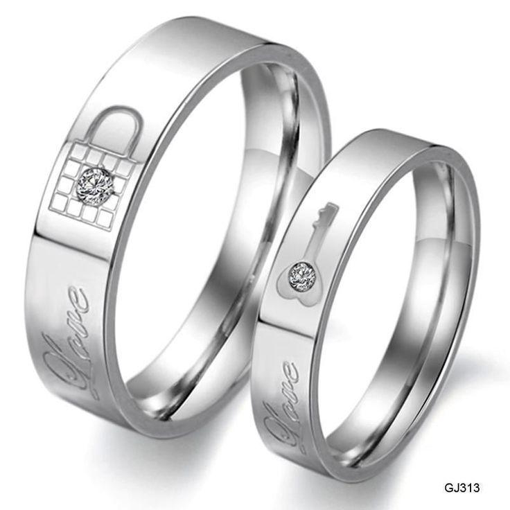 Stainless Steel Couple Rings Love Key Lock Wedding Finger bands Engagement Ring  #Caperci #WeddingSet