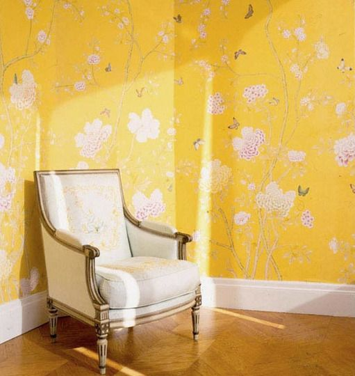 wallpaper.: Degournay, Interiors Design, De Gournay, Yellow, Small Spaces, Great Ideas, Chinoiserie Wallpapers, Wallpapers Design, Gournay Wallpapers