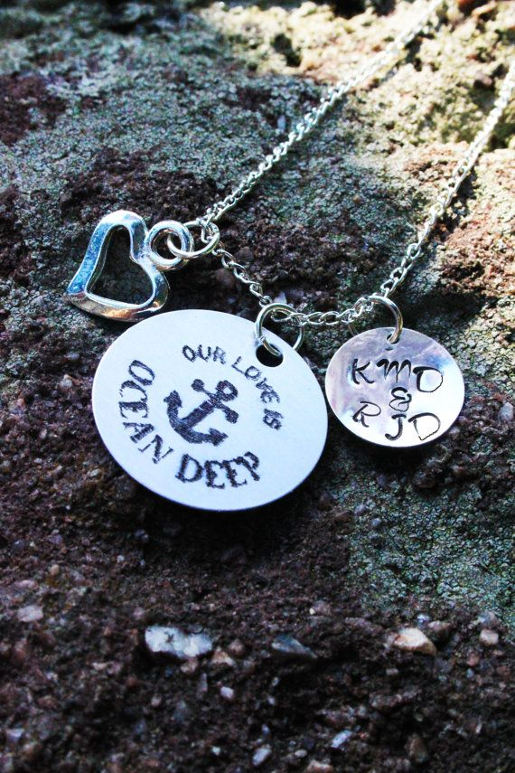 Personalized Couple Necklace  Personalized Navy Wife by CJTangles