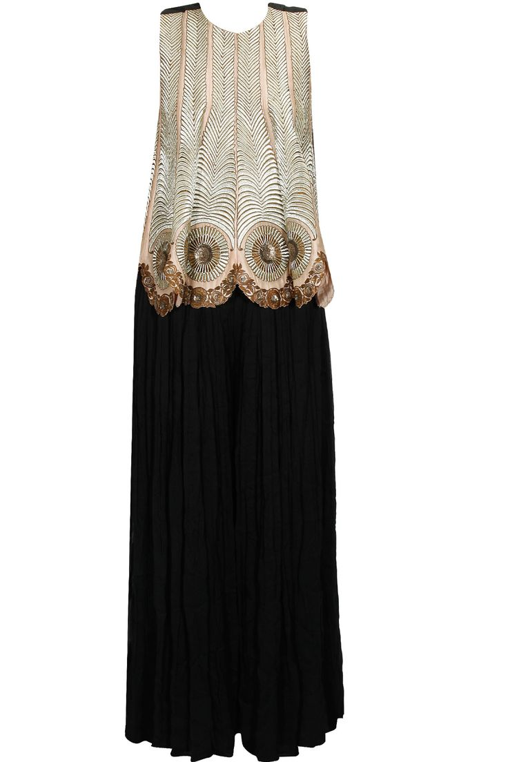 Peach embroidered waistcoat and black pleated palazzos available only at Pernia's Pop Up Shop.#perniaspopupshop #shopnow #newcollection l #radhikaairi#clothing#happyshopping