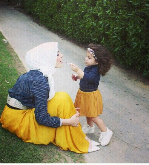 hijab, baby, and daughter image