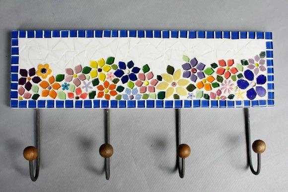 Cabideiro em mosaico Floral 4 ganchos