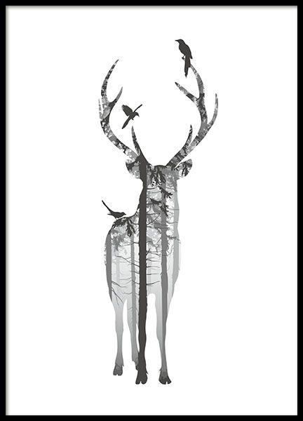 Mooie en trendy zwart-wit poster met natuurmotief. Rustgevend bos in een hertensilhouet. Het statige hert is omringd door vogels. Een van onze vele posters met natuur en dierenmotief. www.desenio.nl