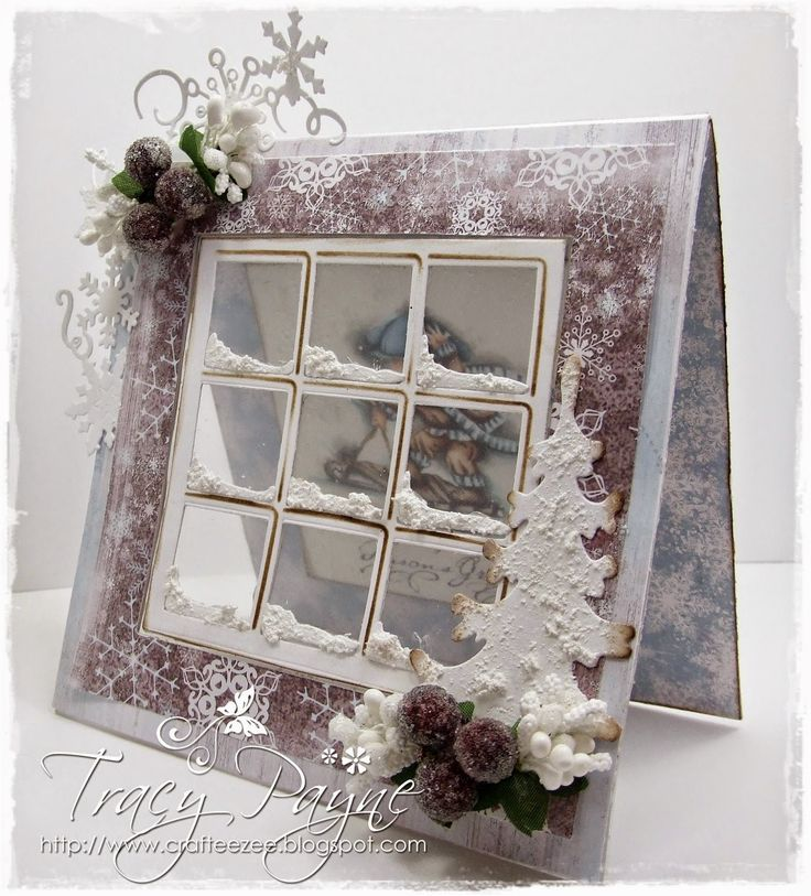 Winter window card using acetate and snow tex. - bjl