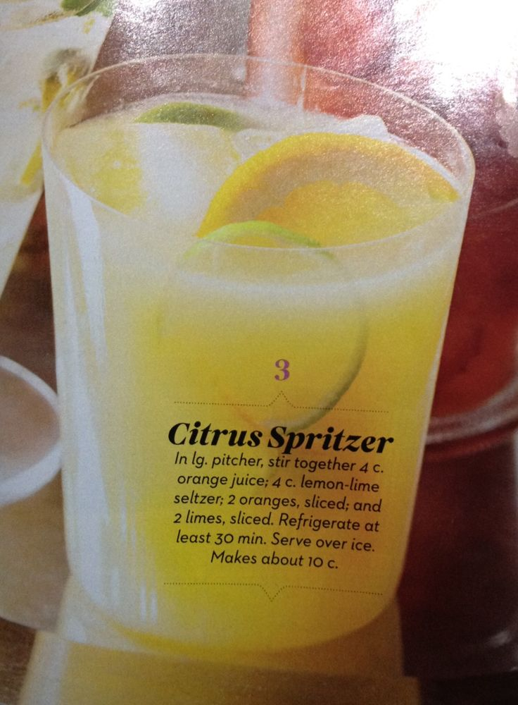 Citrus spritzer drink- non alcoholic and sounds delicious