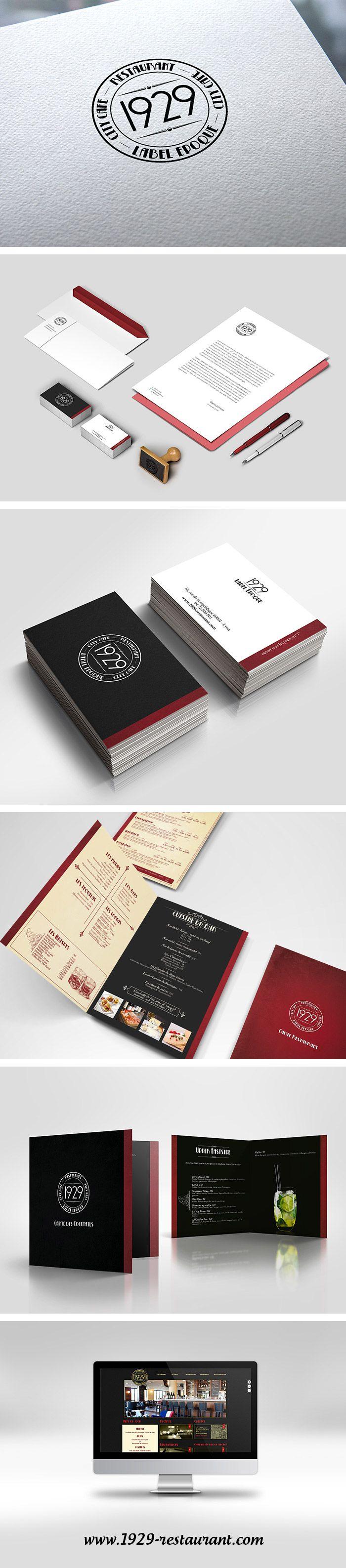 """Logo, carte de visite, menu, site pour le bar """"1929"""" - Logotype, visit card, website for """"1929"""" bar - Monkey Medias"""