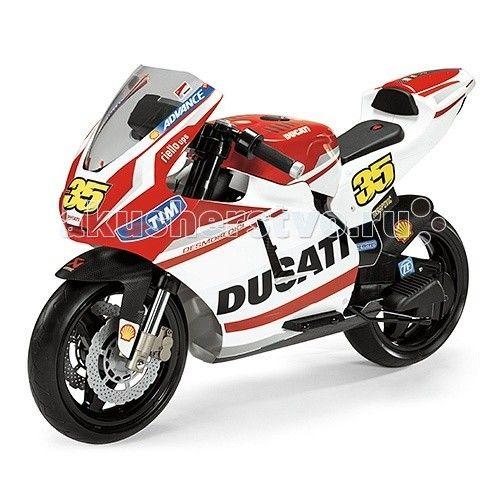 Электромобиль Peg-perego Мотоцикл Ducati GP Rossi 2014  Мечта любого мальчишки и большинства девчонок — собственный Superbike в цветах многократного чемпиона Валентино Росси. от итальянского бренда Peg-Perego является уменьшенной копией его гоночного мотоцикла.  Этот мотоцикл является идеальным сочетанием агрессивного дизайна спортбайка с безопасностью продукции Peg-Perego. Электромотоцикл оснащён аудиоэффектами: сигналом и звуками работающего двигателя. Если ваш ребёнок ещё не может…
