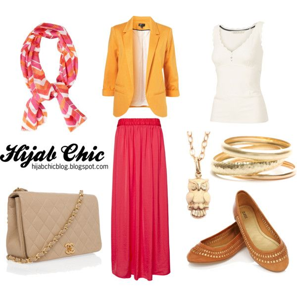 """Hijab style inspiration: orange blazer"" by fashion4arab on Polyvore"