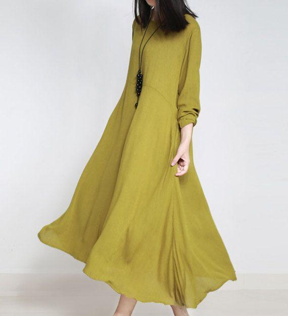 Legergroene lange jurk