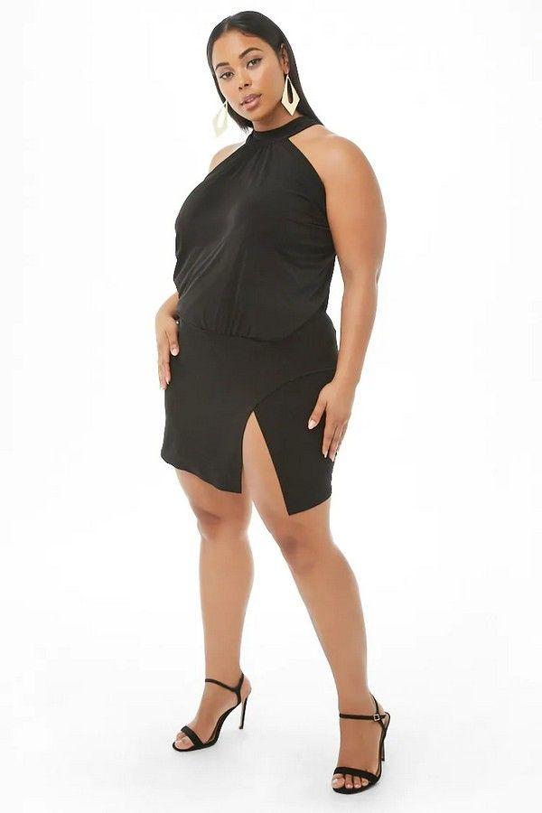 50b2ff6fc Plus Size Shirred Halter Mini Dress  35.00  fashion  ootd  outfit  oufits   moda  plussize  dress  dresses  plussizeclothing  plussizedress  curve   curvy ...
