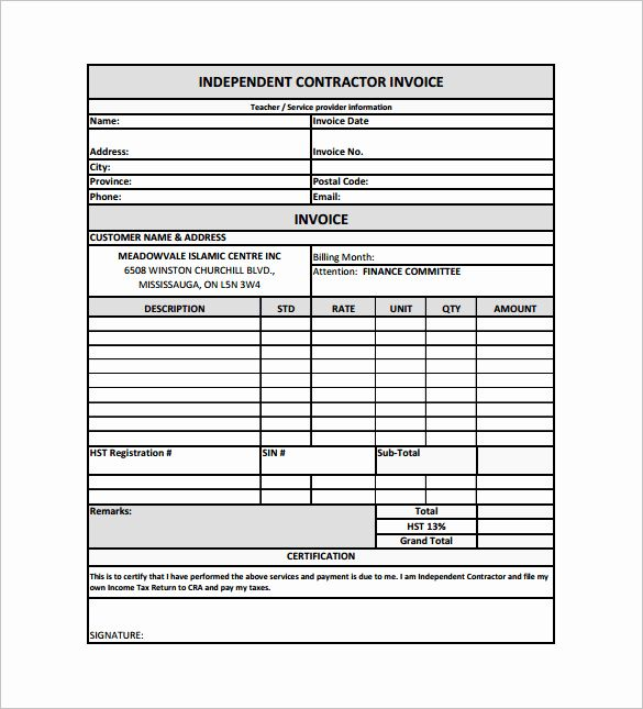 Independent Contractor Billing Template Inspirational 14 Contractor Receipt Templates Doc Pdf Invoice Template Word Receipt Template Invoice Layout
