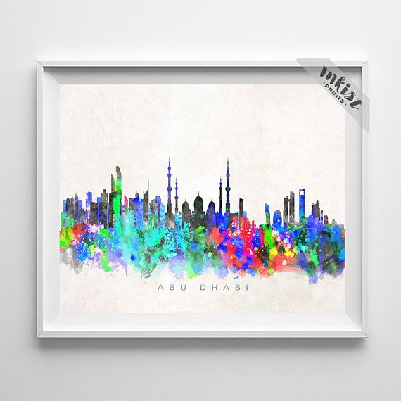Abu Dhabi Skyline Print, UAE, Abu Dhabi Poster, Cityscape, Watercolor Painting, City Poster, Wall Art, Bed Room Decor, Christmas Gift. Wall Art. PRICES FROM $9.95. CLICK PHOTO FOR DETAILS.#inkistprints #skyline #watercolor #watercolour #giftforher #homedecor #nursery #wallart #walldecor #poster #print #christmas #christmasgift #weddinggift #nurserydecor #mothersdaygift #fathersdaygift #babygift #valentinesdaygift #dorm #decor #livingroom #bedroom