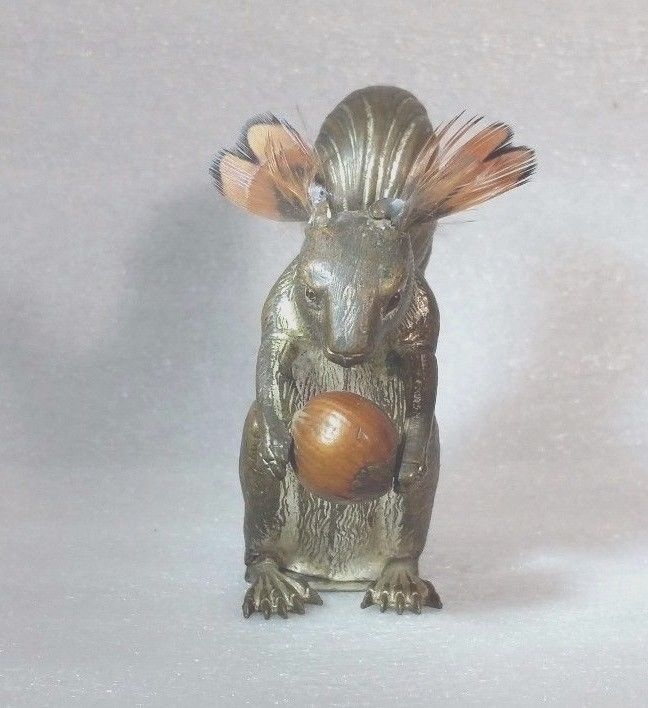 ANTIQUE c 1850 WIND-up BRASS SQUIRREL with NUT TAPE MEASURE, RARE | eBay