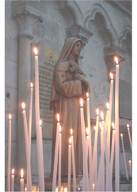 Prayer Candles inside the Cathedral at Amiens, France