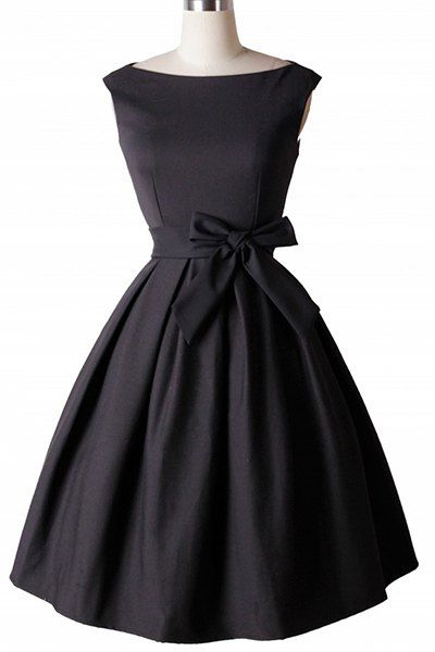 Vintage Boat Neck Sleeveless Solid Color Self-Tie Dress For Women