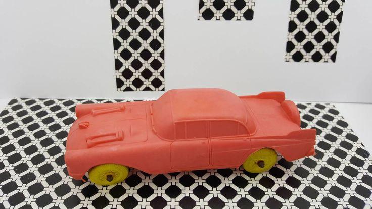 Auburn Rubber Car made in USA Auburn Indiana number 2 Pink car yellow wheels #etsyseller #minimalscratch #vintagetoy