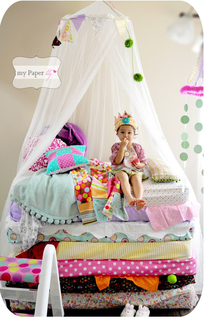 Such a cute idea - Princess and the Pea party-theme from My Paper lily.  @mypaperlily.blogspot.com