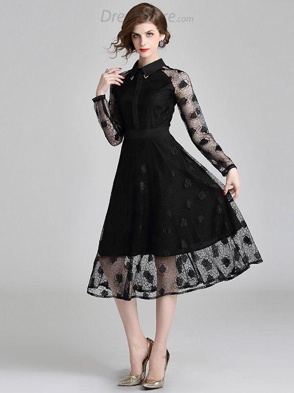 15fdaadd145f8 Lace Stitching Turn-Down Collar A-Line Dress in 2019 | Designer ...