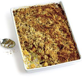 Indian Summer Gratin with Butternut Squash, Potatoes, Corn, and Bacon... can make the day before if you want to...