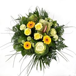 Flower Bouquet of Yellow Rose and Gerbera Hand Tied