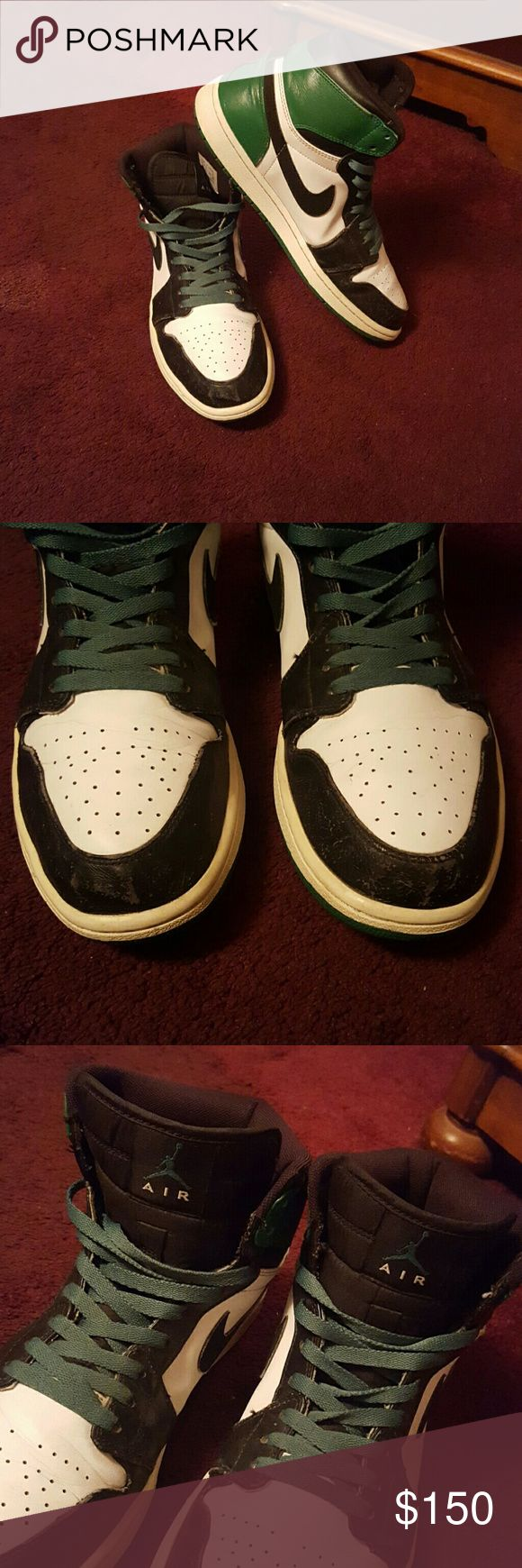 Retro Jordan's Classic 1s Celtic Playoff Edition Rare Jordan's Classic 1s Celtic Playoff Edition $350 shoes new!! Little wear and tear on the bottom of the shoes because some of the paint color came off but when u wear them u won't be able to see them, if you are interested in these shoes and would like to see the bottoms i will put up another listing of them with extra pictures. Only allowed 4 pictures for an item so i wasn't able to show the picture of the bottoms :( so just message me and…