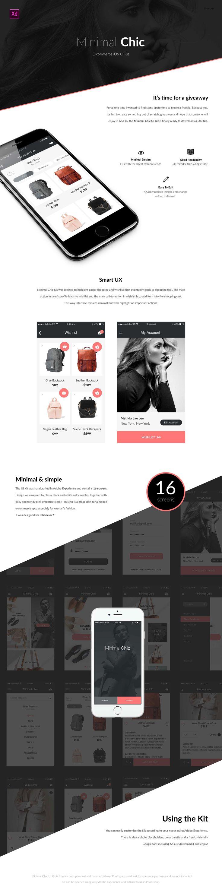 E-commerce iOS App design for XD - Freebie