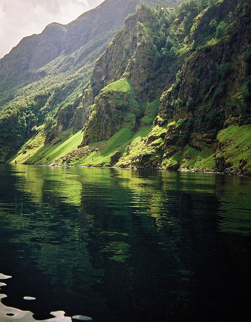 Green fjord, Aurlandsfjord (Norway) I will kayak down this Fjord. Rentals from Bergen. Want to join me?