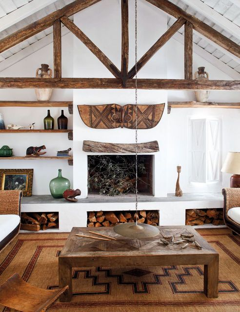 The Beautiful Soup: Dreams Cabins, Living Rooms, Ethnic Decor, Natural Materials, Interiors Design, Wood Storage, Rooms Ideas, Beaches Houses, Wood Beams