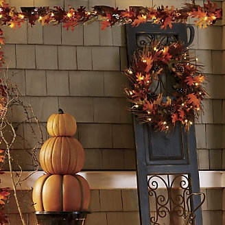 Lit Fall Wreath and Garland from Through the Country Door®Autumn Fal Decor, Fall Harvest, Favorite Seasons, Fall Halloween Thanksgiving, Fall Decorating, Fall Wreaths, Country Doors, Gates Doors, Lit Fall