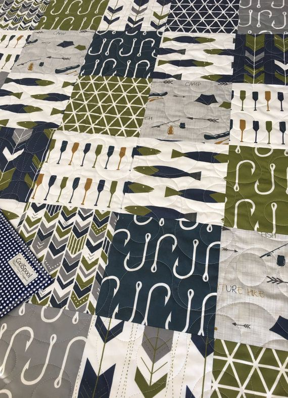 Nautical Baby Quilt, Fishing Quilt, Baby Bedding Nautical, Crib Bedding Fish, Camping Baby Quilt, Nautical Nursery Decor, Fishing Decor Beautiful nautical fishing themed baby quilt. This quilt color scheme features mossy green, navy, and gray. The prints are stunning, most can only be found here at CoolSpool. I professionally designed, pieced and free motion quilted the entire quilt from my home sewing machine using a large loopy pattern throughout. Quilting adds texture and depth, making it…