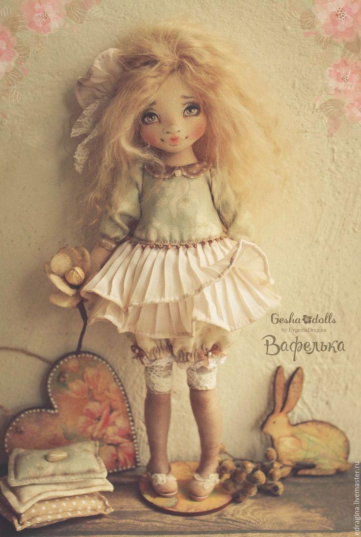 Купить Вафелька - бежевый, текстильная кукла, коллекционная кукла, подарок девушке, подарок, мятный, нежность