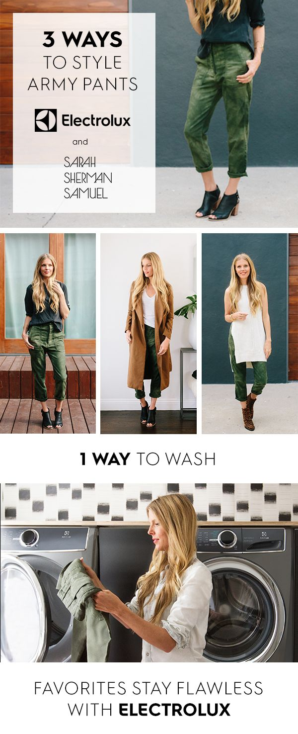 Electrolux and @ssspins show us how to style bold army pants three different ways and one way to keep them vibrant and stain free - the Electrolux Washer with SmartBoost technology.