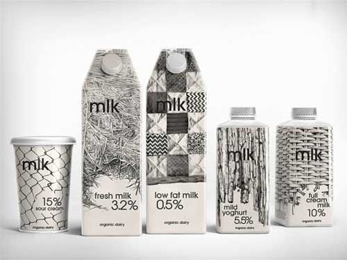 """01-MLK-Designed by Depot WPF Branding Agency, Russia This packaging makes use of natural farming patterns – a family farm, where the products are produced in a traditional way. Illustrations are hand-made (with a pencil) which enables to stress the hand-made production process. In addition, a pencil technique makes the image """"soft""""."""