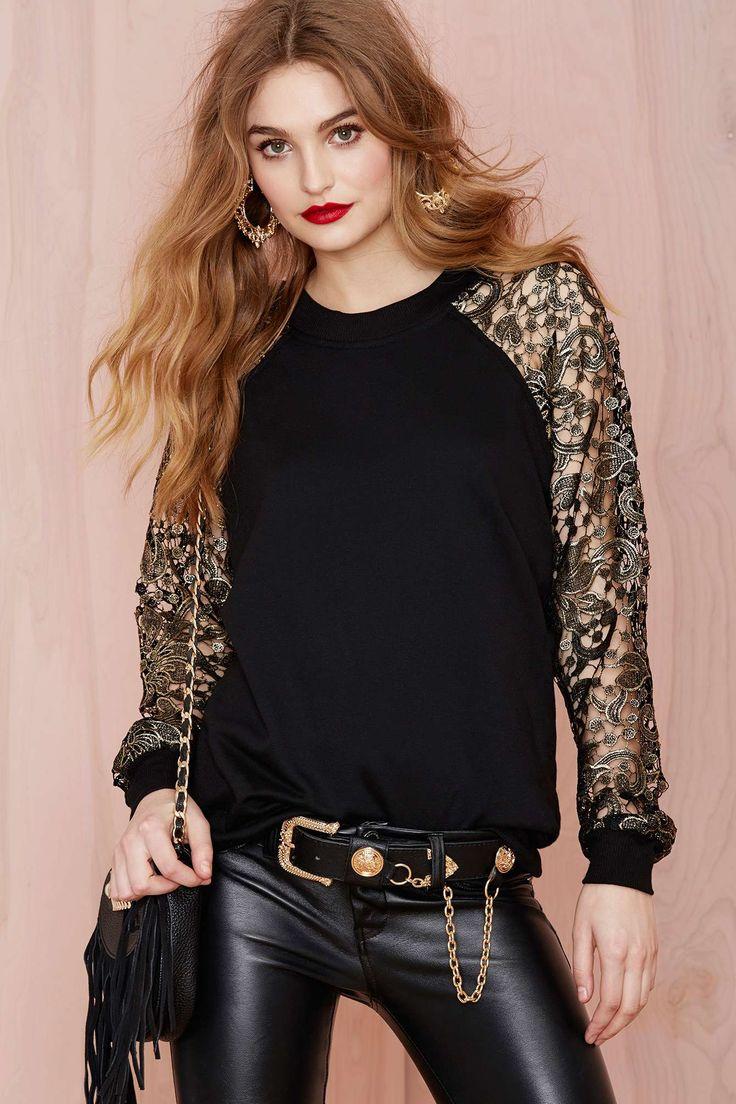 Nasty Gal Goldmine Crochet Sweatshirt | Shop Tops at Nasty Gal