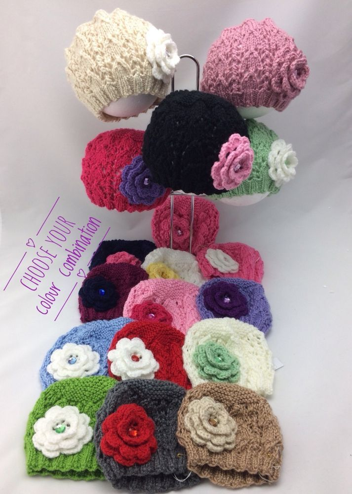 BEANIE/ with Rhinestone Flower/Hand Knitted (Choose your size and colour)