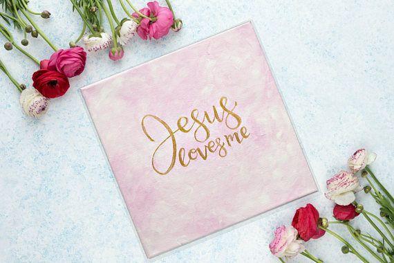JESUS LOVES ME 10x10 Nursery Art Gold Lettering