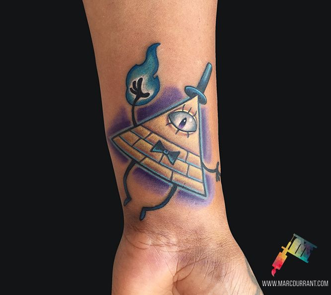 Bill Cipher from Gravity Falls by me Marc Durrant at MD Tattoo Studio in Northridge CA.