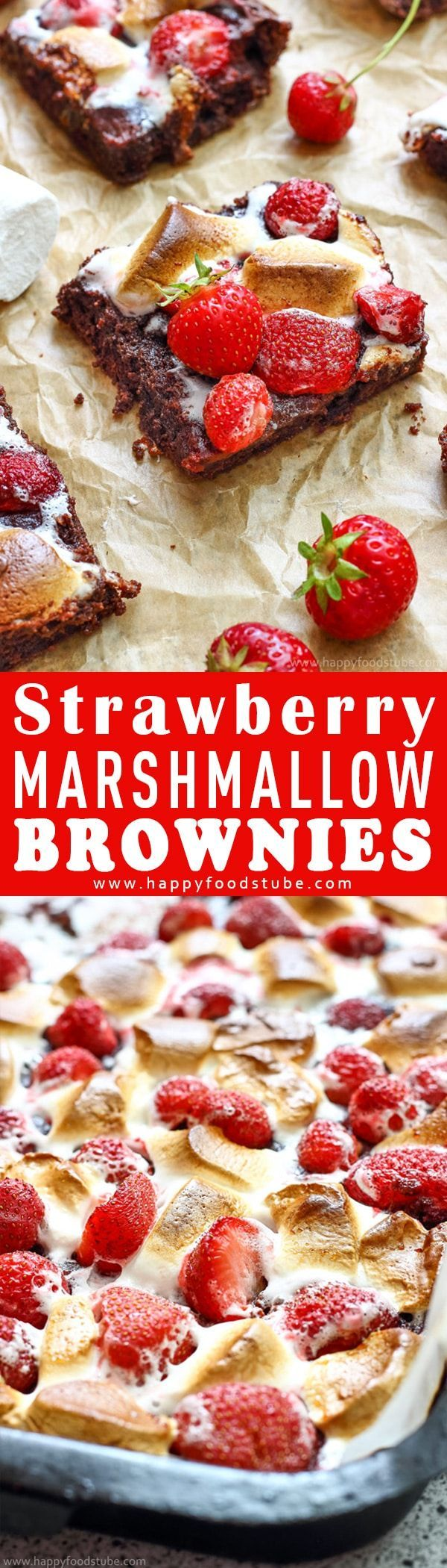 These Strawberry Marshmallow Brownies are the best brownies you'll ever eat! Rich and chewy on the inside and gooey on the outside. Easy to make dessert recipe. Best Strawberry Brownies from scratch via @happyfoodstube