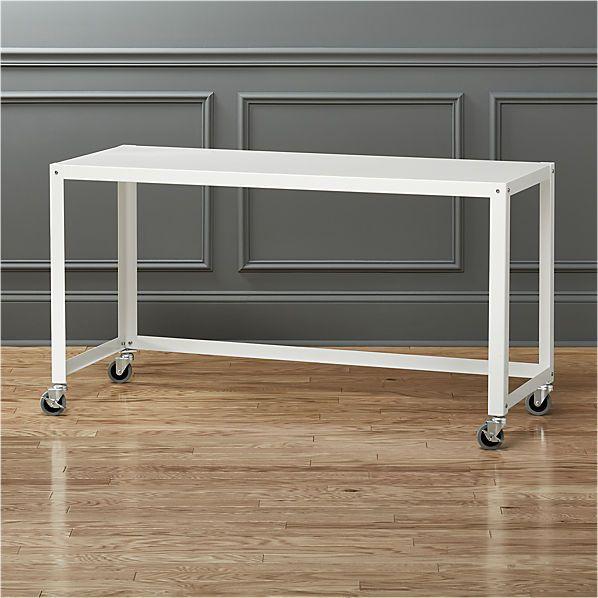 go-cart white rolling desk  | CB2