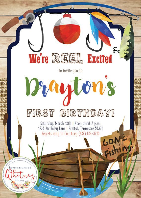 This custom fishing-themed 5 x 7 invitation is sure to be a hit for any little fishermans birthday party! --- HOW TO ORDER --- In order to customize your invitation, please include the following information in the Note to Seller portion of the checkout process: - Childs Name - Childs Age - Date of the Event - Time of the Event - Party Location, Address, City, State, and Zip Code - RSVP or Regrets only information (if applicable) - Any additional details or information you would like to…