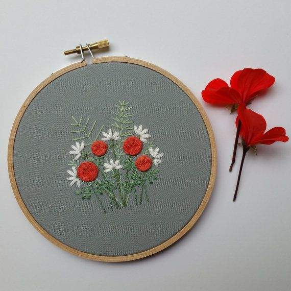 Lily And Rose Garden Hoop Art Hand Embroidered Hoop Art