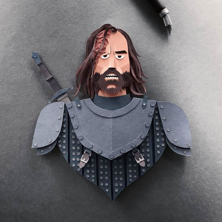 Game of Thrones characters illustrated through papercutting.