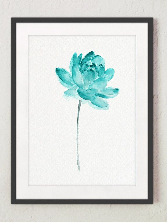 Lotus flower teal watercolor painting abstract flower poster lotus art print water flowers blue wall decor floral artwork by colorwatercolor on etsy