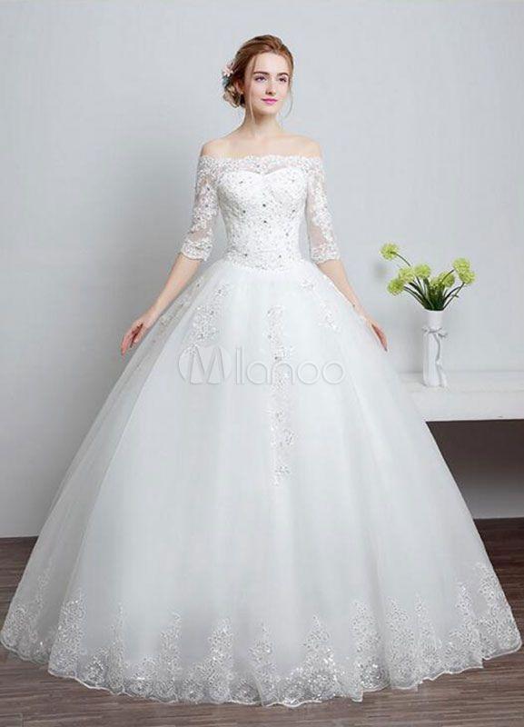 Renda vestidos de casamento fora do ombro laço a linha marfim manga meia lantejoulas chão comprimento vestido de noiva