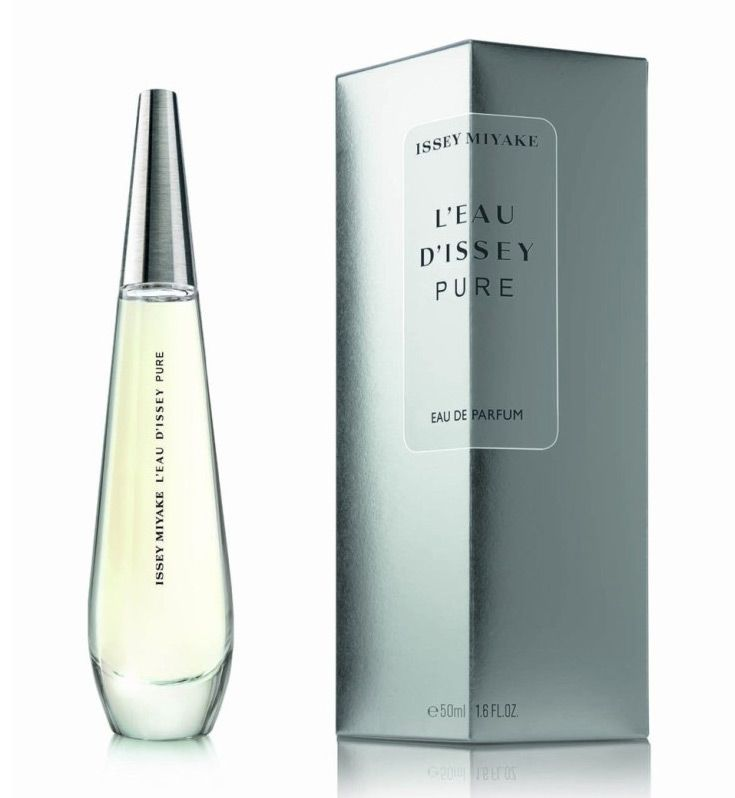 L'Eau d'Issey Pure is of aquatic character, without citruses and with sensual and carnal undertones, evoking the scent of water on the skin of a woman. The composition begins with a marine accord. Orange blossom, Damask rose, jasmine and lily form the floral heart of the perfume. The base features sultry accords of gray amber and musky cashmere wood.