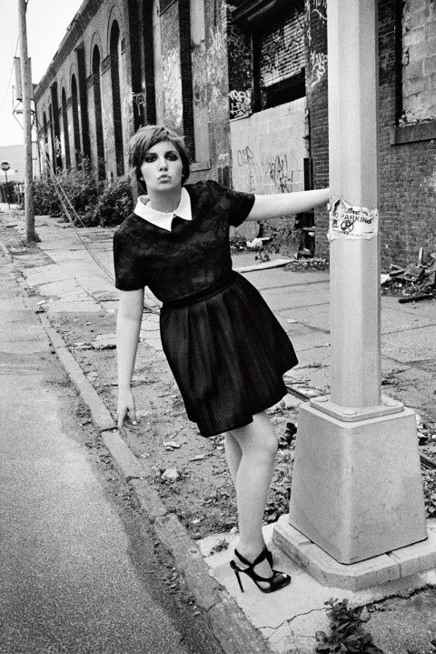 "And posed on a dilapidated street corner that the bookings team definitely chose because it's so ""Brooklyn,"" right? 