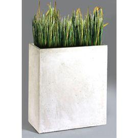 Bac rectangulaire haut en fibre de terre - Blanc - 60 x 22 x 72 cm