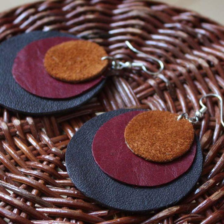 Leather Earrings in Brown Red and Black - Handmade Circle Earrings. $17.00, via Etsy.